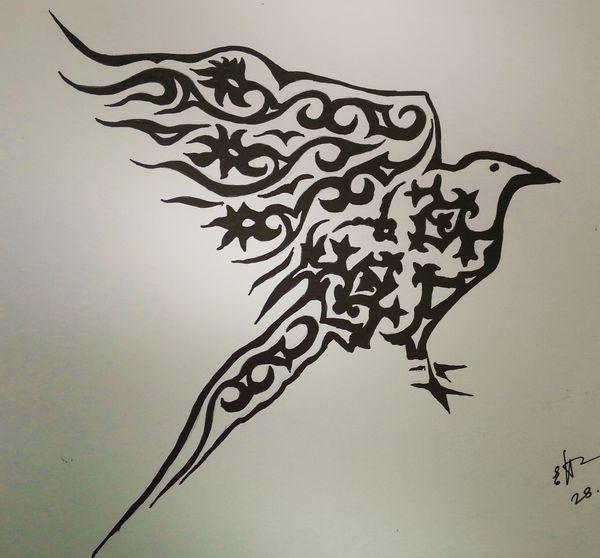 ворон в татарском орнаменте
