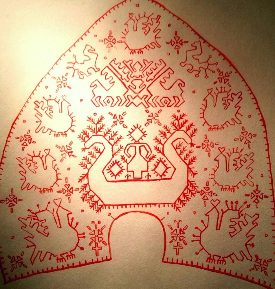 Кокошник в стиле русской вышивки