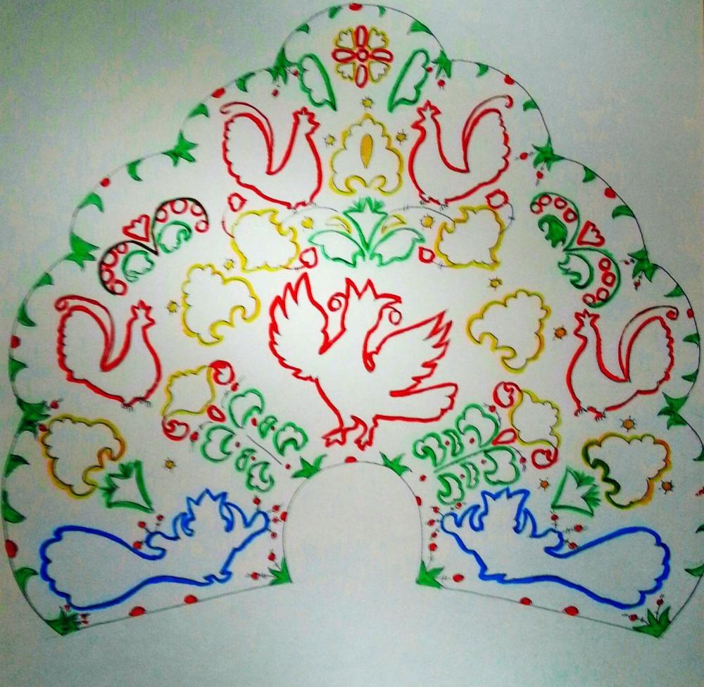 кокошник в стиле северодвинской росписи