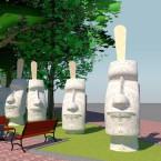 Мороженое в виде истуканов с острова Пасхи